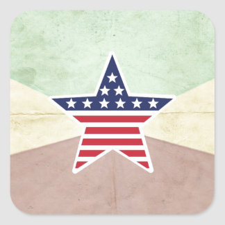 Star American Flag on Vintage Background Stickers