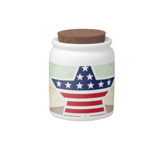 Star American Flag on Vintage Background Candy Dishes