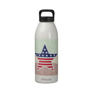 Star American Flag on Vintage Background Drinking Bottle
