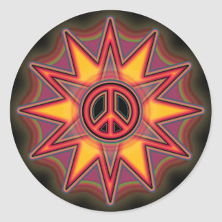 STAR BURST PEACE SIGN ROUND STICKERS