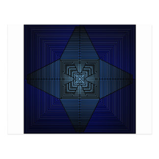Star Cross Blue Mandala Type Crosses and Pyramids Postcard