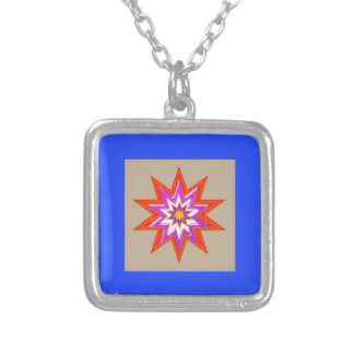 STAR Decorations : BLUE Background LOWPRICES Square Pendant Necklace