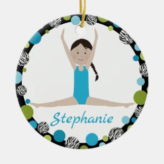 Star Gymnast Black Braid in Aqua and Green Christmas Ornament
