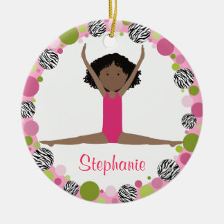 Star Gymnast Black Hair in Pinks Personalised Christmas Ornament