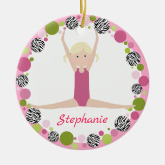 Star Gymnast Blonde Pony Tails in Pinks Christmas Ornament