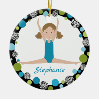 Star Gymnast Curly Hair in Aqua and Green Christmas Ornament