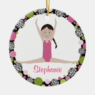 Star Gymnast Dark Brown Hair Pinks Christmas Ornament