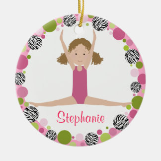 Star Gymnast in Pinks Curly Hair Christmas Ornament