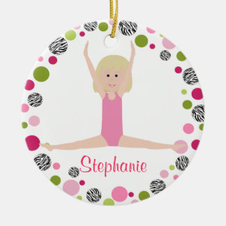 Star Gymnast in Pinks Personalised Christmas Ornament