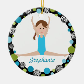 Star Gymnast with Brown Braid in Aqua and Green Christmas Ornament