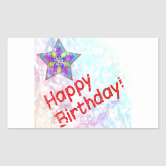 Star Happy Birthday Party Peace Colorful Destiny Rectangle Stickers