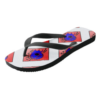 Star-man text with image red, black & blue flip fl thongs