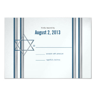 Star of David Bar Mitzvah 9 Cm X 13 Cm Invitation Card