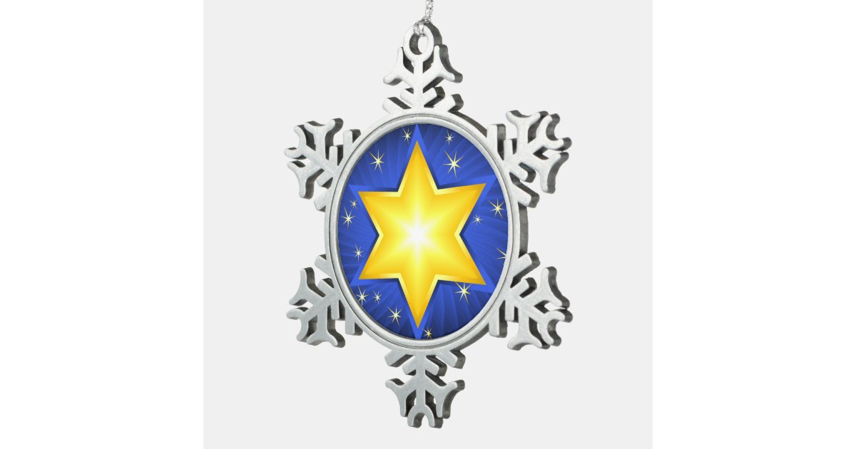 Star Of David Pewter Snowflake Decoration Zazzle