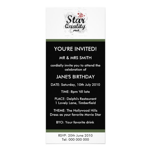 Star Quality Personalized Invitation