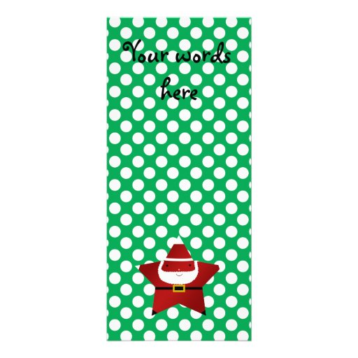 Star santa with green and red polka dots full color rack card
