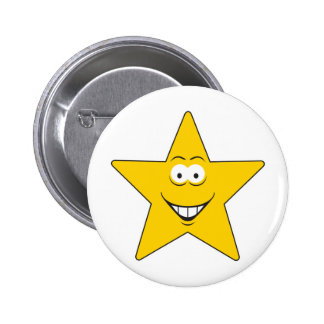 Star Smiley Face 6 Cm Round Badge