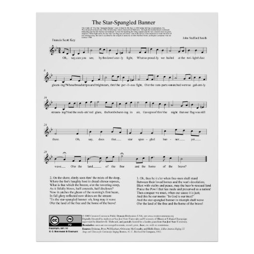 Star-Spangled Banner National Anthem Music Sheet Posters