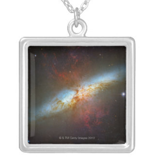Starburst Galaxy M82 Silver Plated Necklace