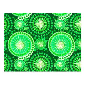 Starbursts and pinwheels, dark pine green postcard