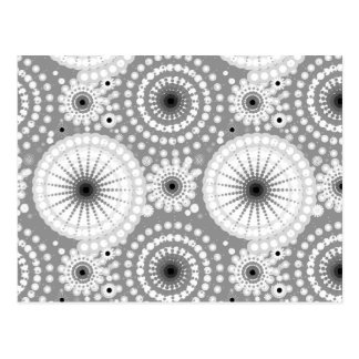 Starbursts and pinwheels, grey, black and white postcard