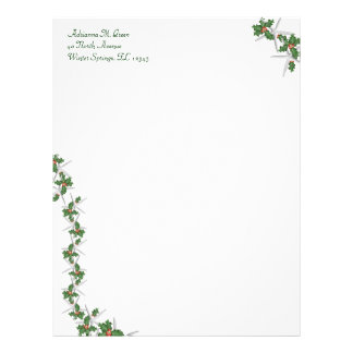 Starfish and Holly Tropical Christmas Stationery Letterhead