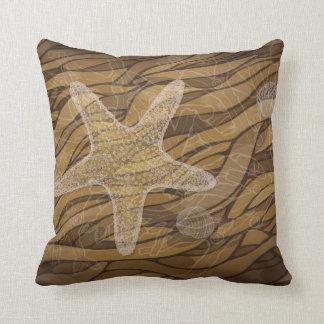 Starfish and seaweed throw pillow