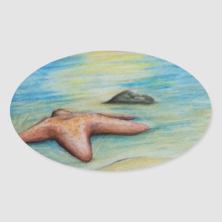 Starfish and the Shore Oval Sticker