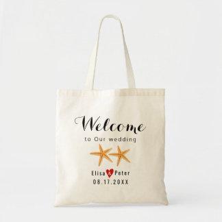 Starfish beach destination wedding script welcome