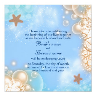 Starfish beach tropical blue ivory 2 personalized announcement