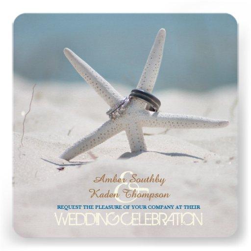 Starfish Beach Wedding Custom Invitations