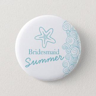 Starfish bridesmaid aqua wedding pin / button