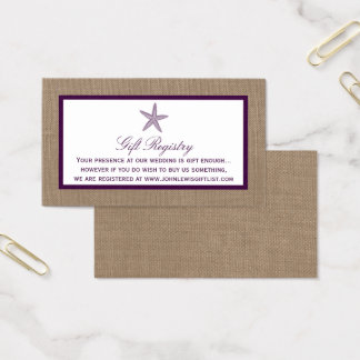 Starfish Burlap Beach Wedding | Choose Your Color Business Card