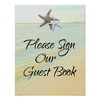 Starfish Couple Beach Theme Guest Book Table Sign Poster