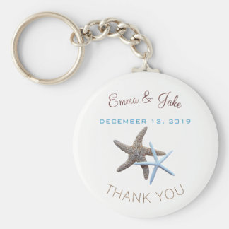 Starfish Couple Blue Thank You Key Ring Favour Basic Round Button Key Ring