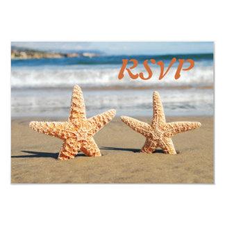 Starfish Couple on the Beach RSVP Card 9 Cm X 13 Cm Invitation Card