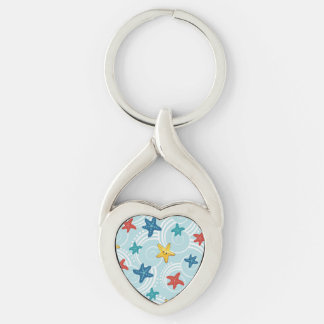 Starfish in Swirly Ocean Silver-Colored Twisted Heart Key Ring