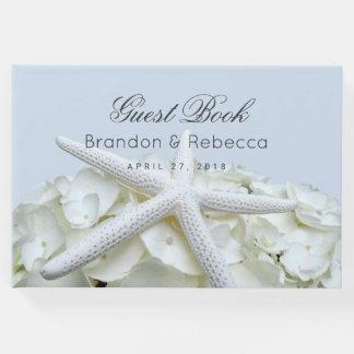 Starfish n Hydrangea Light Blue Wedding Guest Book