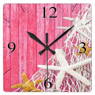 Starfish Netting Beach Wood Coastal Living | pink Square Wall Clock