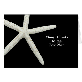 Starfish on Black Thank You Best Man Note Card