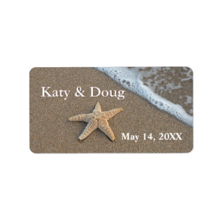 Starfish on the beach labels for the DIY bride