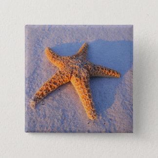 Starfish On White Sand 15 Cm Square Badge