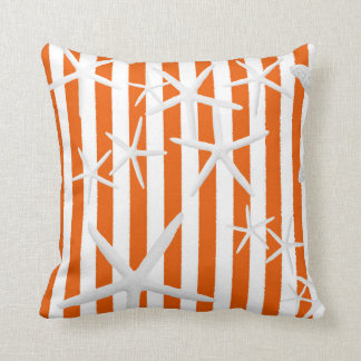 Starfish Orange Stripes Striped Cushion