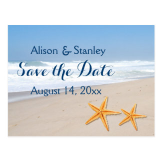 Starfish pair summer beach wedding Save the Date Postcard