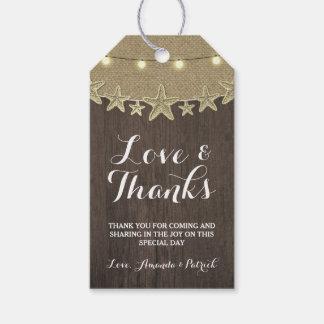 Starfish Rustic Lights Beach Wedding Thank You Gift Tags