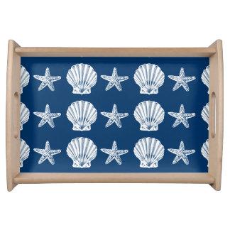 Starfish seashell scallop shells BLUE Serving Trays