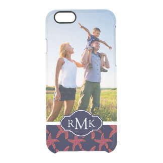 Starfish Style Pattern| Your Photo & Monogram Clear iPhone 6/6S Case