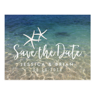 Starfish Summer Beach Wedding Save the Date Postcard