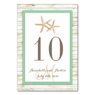 Starfish Whitewashed Wood Beach Tropical Wedding Card