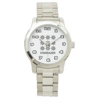 StarGazer Women's Oversized Silver Bracelet Watch